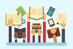 Livres dans des mains Livre de bibliothèque de lecture Remettez tenir le manuel, illustration plate de vecteur lisez et d'éducati illustration stock