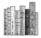 Livres dans une illustration de rangée, dessin, gravure, encre, schéma, vecteur Photo stock