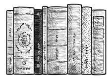 Livres dans une illustration de rangée, dessin, gravure, encre, schéma, vecteur Photographie stock