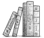 Livres dans une illustration de rangée, dessin, gravure, encre, schéma, vecteur Photographie stock libre de droits