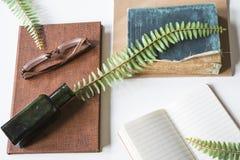 livres de cru avec le pot d'encre, les verres de plume d'oie et la brindille, sur le bureau blanc image libre de droits