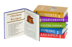 Livres de cuisine d'isolement sur le fond blanc Photos stock