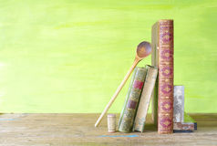 Livres de cuisine de vintage, Photo stock