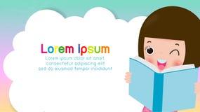 Livres de lecture d'enfants, de nouveau ? l'?cole, le concept d'?ducation, le calibre pour la brochure de publicit?, votre texte, illustration stock