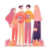 Livres de lecture de femmes de jeune homme d'amis Position apprenante ensemble Voile de port musulman de tête-écharpe de l'Islam illustration de vecteur