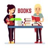 Livres de lecture de fille d'adolescent - concept d'auto-éducation Image libre de droits