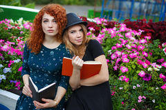 Livres de lecture romantiques d'amie en parc Images stock