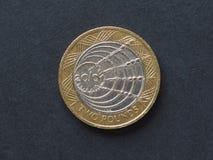 2 livres de pièce de monnaie, Royaume-Uni Image libre de droits