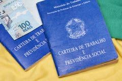 Livres de travail ou travail brésiliens de document Image stock