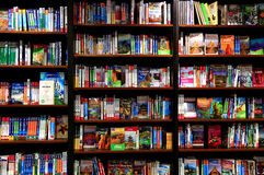Livres de voyage sur des étagères de librairie Photos stock