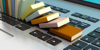 Livres empilés sur un clavier d'ordinateur portable illustration 3D Images libres de droits