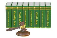 Livres en bois de Gavel et de loi, rendu 3D Images stock
