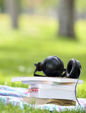 Livres et écouteurs audio de concept de livre Image libre de droits