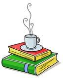 Livres et cuvette de café Images libres de droits