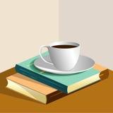 Livres et cuvette de café Photographie stock libre de droits