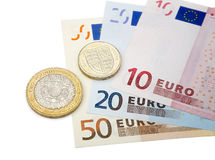 Livres et euros Images stock