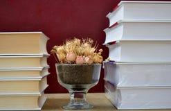 Livres et vase Photographie stock