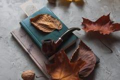 Livres, feuilles d'automne et un tube sur une table grise photo stock