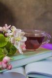 Livres, fleurs et tasse de thé Photos libres de droits