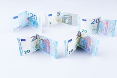 Livres, 20 livres britanniques et euro billets de banque Image stock