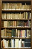 Livres médiévaux antiques au biblioteque de Majorque Image stock