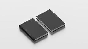Livres reliés noirs vides raillent vers le haut de l'ensemble, de l'avant et du dos Photos libres de droits