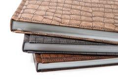 Livres reliés se trouvant sur un fond blanc Images stock