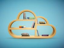 Livres sur la forme en bois de nuage d'étagère Photo stock