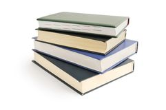 Livres sur le blanc Photo stock