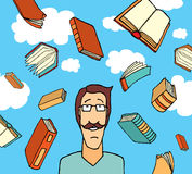 Livres tombant du ciel/de connaissance illustration stock