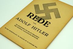 Livret néerlandais de discours d'Adolf Hitler chez Berlin Sportpalast photos libres de droits