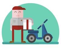 Livreur avec avec le scooter Images libres de droits