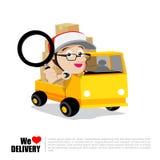 homme de bande dessin e dans la voiture de livraison illustration de vecteur image 69780585. Black Bedroom Furniture Sets. Home Design Ideas