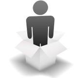 Livrez une personne de la distribution dans un carton blanc propre Photo stock