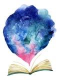 Livro aberto da aquarela com nuvem mágica Foto de Stock Royalty Free