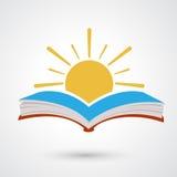 Livro aberto do por do sol ilustração stock