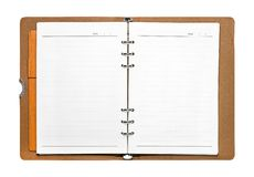 Livro aberto isolado no fundo branco Página vazia com linhas papel Trajeto de grampeamento fotos de stock