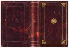 Livro aberto velho com tampa de couro Imagem de Stock