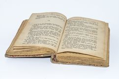 Livro amarelado velho no italiano fotos de stock royalty free
