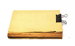 Livro antigo velho, capas vazias de um livro com cilp Foto de Stock Royalty Free