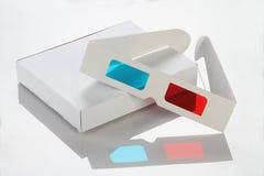 Livro Branco/caixa de cartão e vidros 3D Imagem de Stock