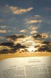 Livro & céu da génese Foto de Stock
