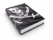 Livro coberto com a bandeira de piratas - isolada Foto de Stock