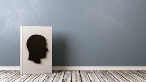 Livro com forma no assoalho de madeira, conceito da cabeça humana da biografia ilustração do vetor