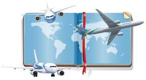 Livro com os aviões que voam no céu Fotos de Stock Royalty Free