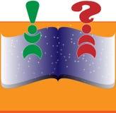 Livro com pergunta e exclamação Foto de Stock Royalty Free