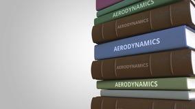 Livro com título da AERODINÂMICA, rendição 3D ilustração stock