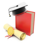 Livro com tampão e diploma da graduação Fotografia de Stock Royalty Free