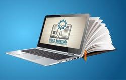 Livro como a base de conhecimento - manual do guia do usuário ilustração do vetor