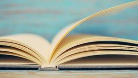 Livro & copo branco no fundo de madeira azul Foto de Stock Royalty Free